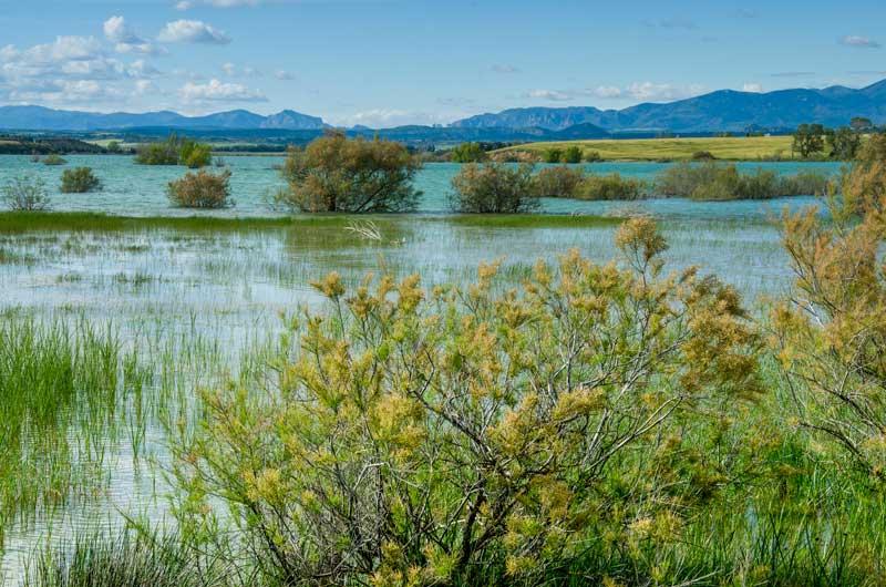 Vista del pantano de la Sotonera con la Sierra al fondo.
